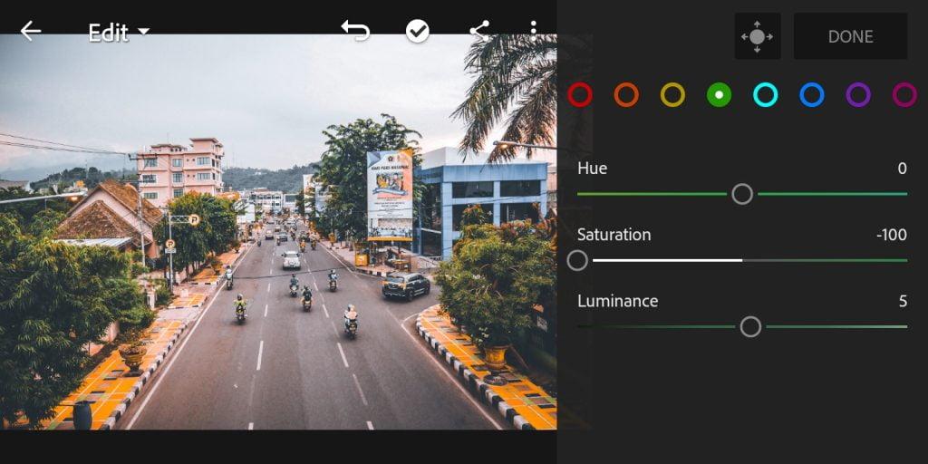 Gambar mengatur mix warna hijau di Lightroom Mobile