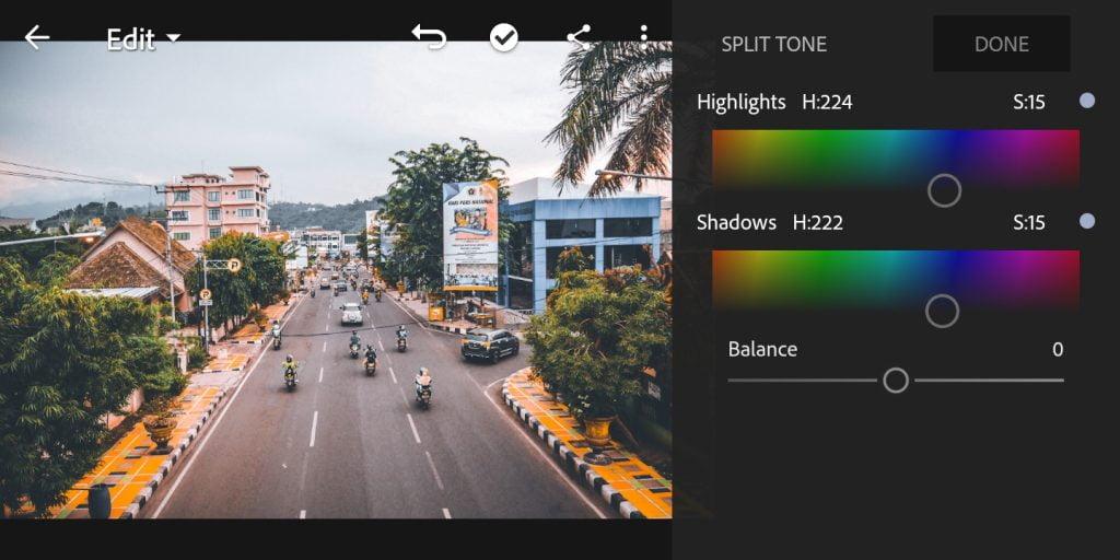Gambar mengatur hue dan saturation di lightroom mobile