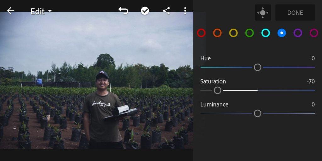 Gambar mengatur color mix untuk warna biru foto efek moody dark di Lightroom Mobile