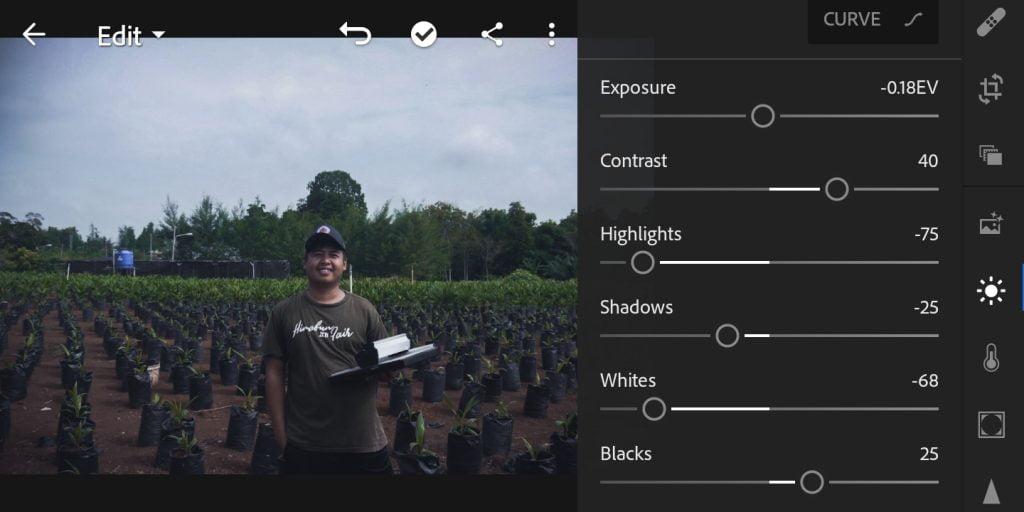 Gambar mengatur light untuk efek moody dark di Lightroom Mobile