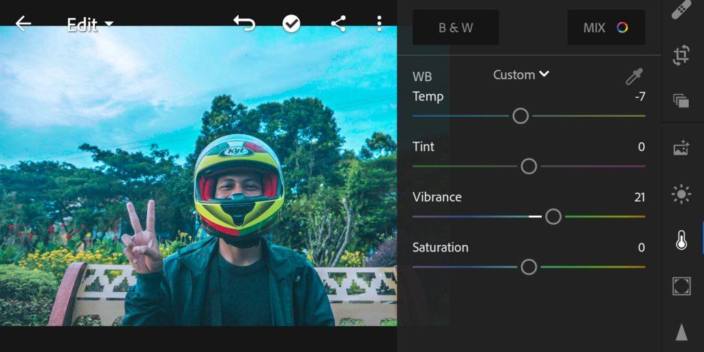 Gambar editing warna foto efek Brandon Woelfel di lightroom  mobile