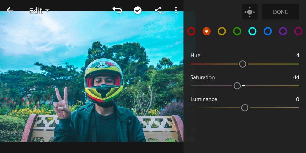 Gambar editing mix color orange foto efek Brandon Woelfel di lightroom  mobile