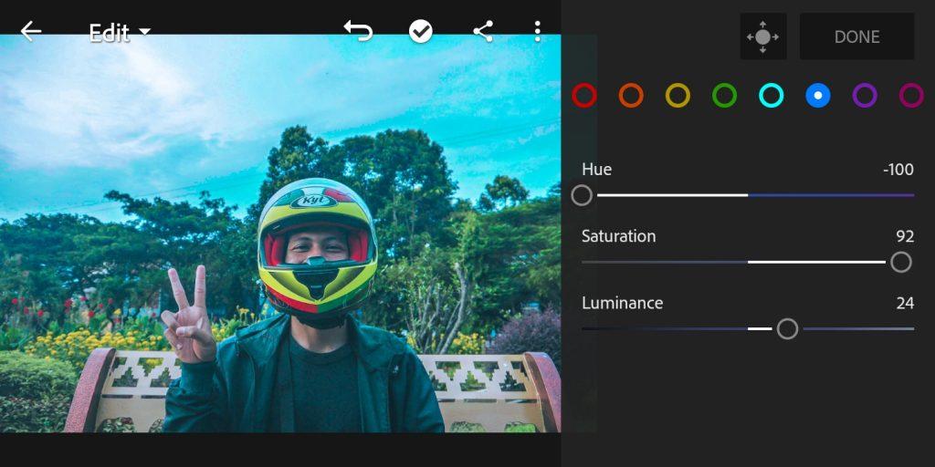 Gambar editing mix color biru foto efek Brandon Woelfel di lightroom  mobile