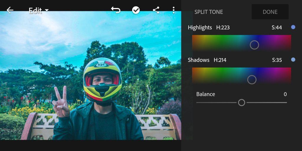 Gambar editing split tone foto efek Brandon Woelfel di lightroom  mobile