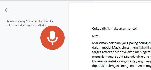 Gambar mengetik dengan suara di Google Docs