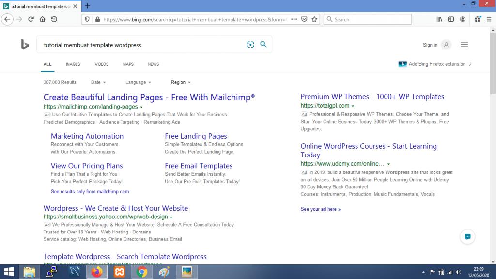 Gambar contoh hasil pencarian dengan Bing