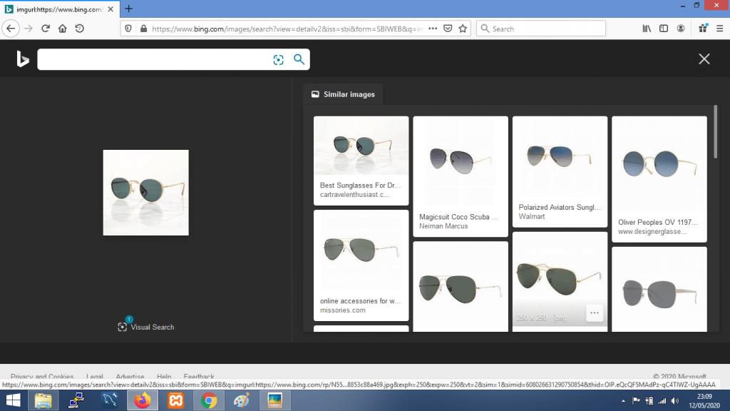 Gambar contoh hasil pencarian dengan gambar di Bing