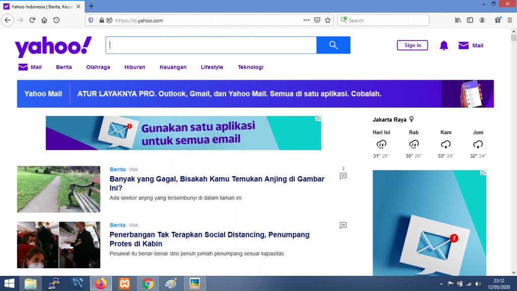 Gambar Tampilan mesin pencari yahoo