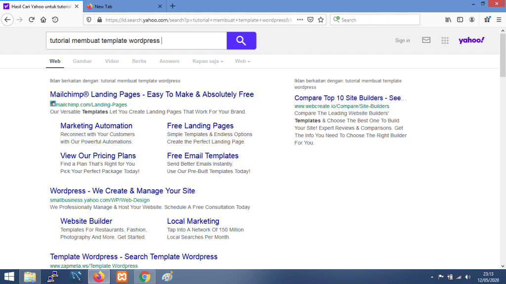 Gambar 4.1. contoh hasil pencarian dengan Yahoo