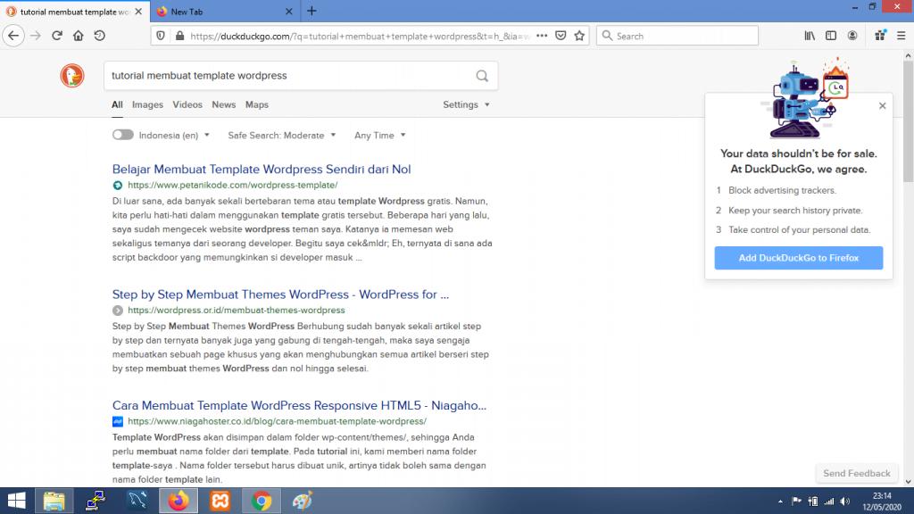 Gambar contoh hasil pencarian dengan DuckDuckGo