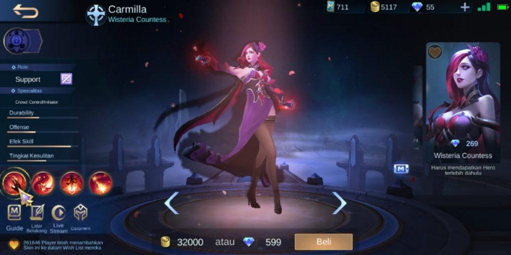 Gambar Tampilan Hero Carmilla Support Terkuat Season 16 2020 Mobile Legends