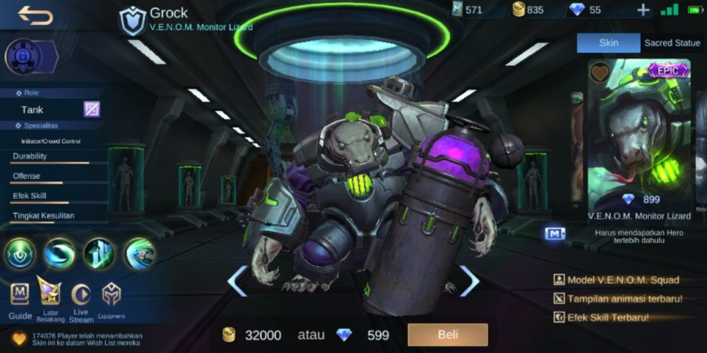 Gambar Tampilan Hero Grock Tank Terkuat Season 16 2020 Mobile Legends
