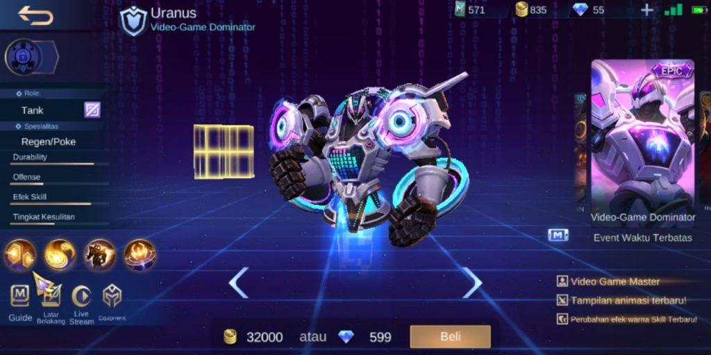 Gambar Tampilan Hero Uranus Tank Terkuat Season 16 2020 Mobile Legends