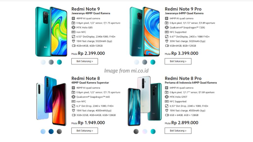 Gambar perbandingan spesifikasi Xiaomi Redmi Note 9 dengan produk terbaru Xiaomi lainnya