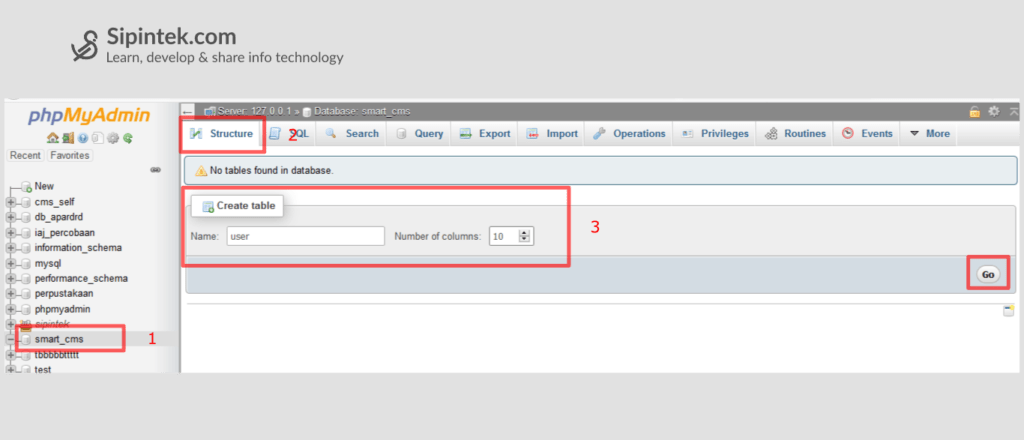Gambar Cara membuat tabel di MySQL dengan PhpMyAdmin