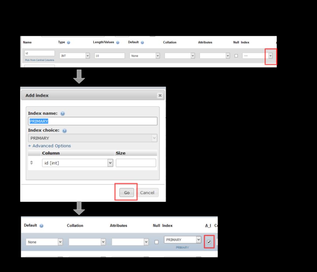 Gambar Cara membuat kolom primary key di MySQL dengan PhpMyAdmin