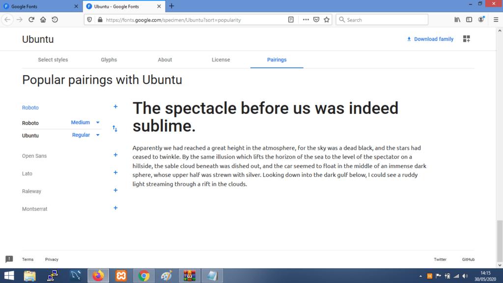 Gambar Contoh Kombinasi Font Ubuntu Terbaik