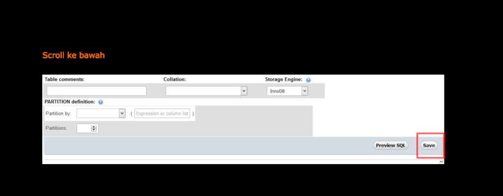 Gambar Cara menyimpan settingan kolom atau field tabel di PhpMyAdmin
