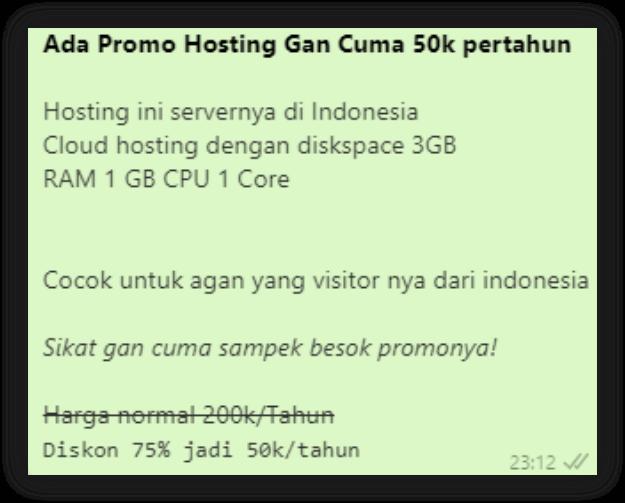 Gambar Contoh Huruf monospace di Pesan Whatsapp