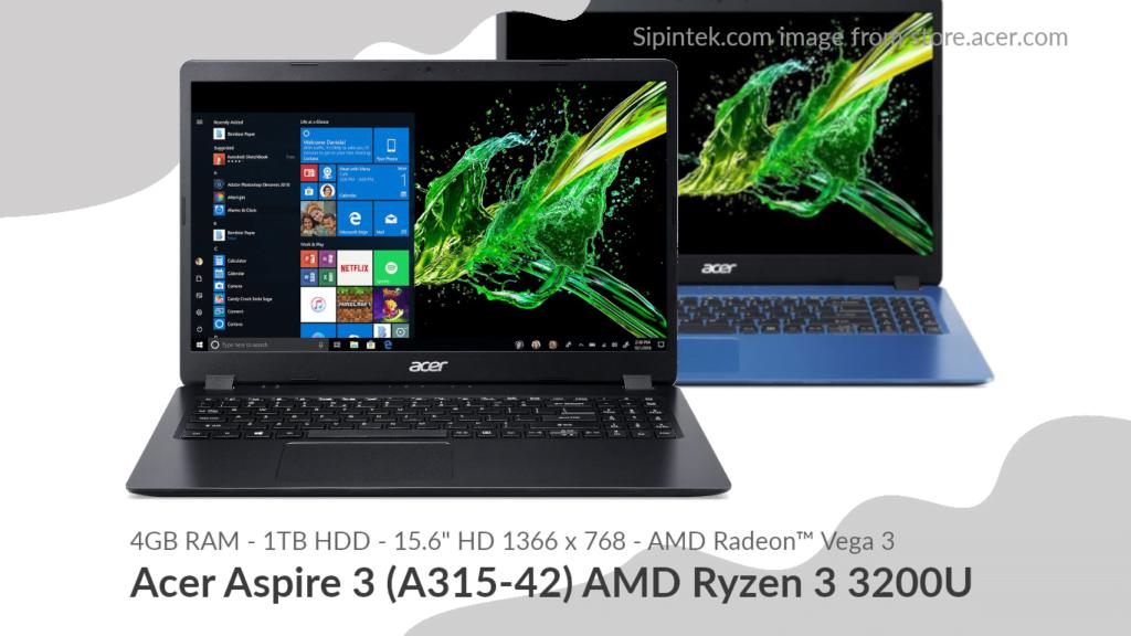 Gambar Tampilan Acer Aspire 3 (A315-42) AMD Ryzen 3 3200U 5,5 Jutaan (Direkondasikan)