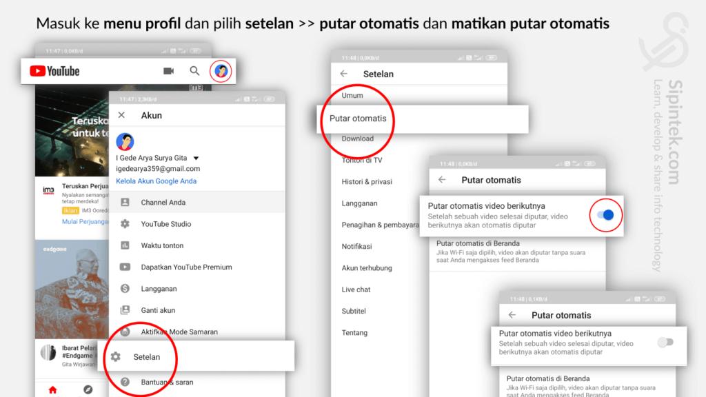 Gambar 1. Cara Menonaktifkan Pemutar Video Otomatis Youtube di HP Android