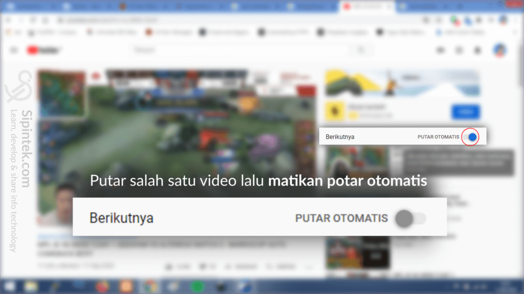 Gambar 2. Cara Menonaktifkan Pemutar Video Otomatis Youtube di Browser PC, Laptop