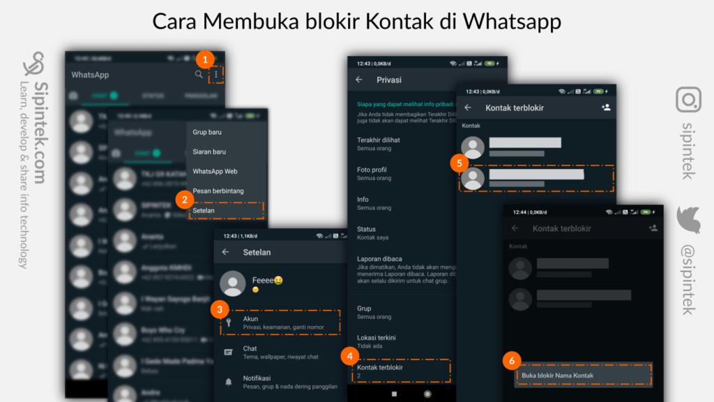 Gambar Langkah-langkah cara membuka nomor atau kontak yang diblokir di whatsapp