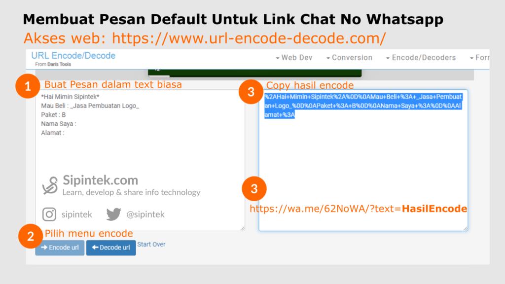Gambar Membuat pesan default di link chat WA dengan Enter dan Simbol