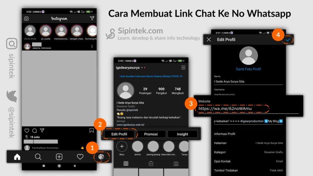 Gambar langkah-langkah menambahkan link chat ke no wa di IG