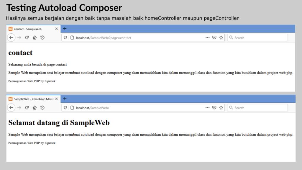 Gambar 2. Testing autoload composer di php