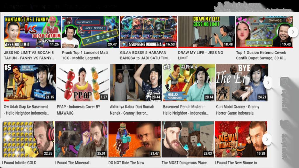 Gambar contoh thumbnail dari youtuber terkenal
